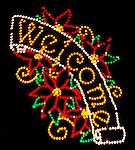 Mount Holyoke, MA town park Christmas light display. Welcome sign.