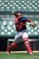 GCL Red Sox catcher Alberto Schmidt (41) throws to first base during a game against the GCL Orioles on August 16, 2016 at the Ed Smith Stadium in Sarasota, Florida.  GCL Red Sox defeated GCL Orioles 2-0.  (Mike Janes/Four Seam Images)