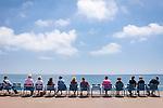 France, Provence-Alpes-Côte d'Azur, Nice: row of chairs at Promenade des Anglais   Frankreich, Provence-Alpes-Côte d'Azur, Nizza: Stuhlreihe an der Promenade des Anglais