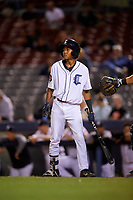 Connecticut Tigers shortstop Jose King (48) at bat during a game against the Hudson Valley Renegades on August 20, 2018 at Dodd Stadium in Norwich, Connecticut.  Hudson Valley defeated Connecticut 3-1.  (Mike Janes/Four Seam Images)