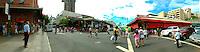 People outside the Oahu market in Chinatown, downtown Honolulu.