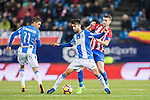 Alberto Bueno Calvo (l) of Deportivo Leganes fights for the ball with Gabriel Fernandez Arenas, Gabi, of Atletico de Madrid during their La Liga match between Atletico de Madrid and Deportivo Leganes at the Vicente Calderón Stadium on 04 February 2017 in Madrid, Spain. Photo by Diego Gonzalez Souto / Power Sport Images