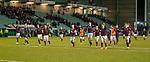 03.03.2020 Hibs v Hearts: Hearts team celebrate at full time