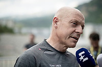 Ineos Manager Sir Dave Brailsford interviewed at the race start in Saint-Jean-de-Maurienne<br /> <br /> Stage 19: Saint-Jean-de-Maurienne to Tignes (126km)<br /> 106th Tour de France 2019 (2.UWT)<br /> <br /> ©kramon