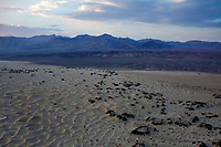 aerial photograph of the Mesquite Flat Dunes, Death Valley National Park, northern Mojave Desert, California; in the late afternoon