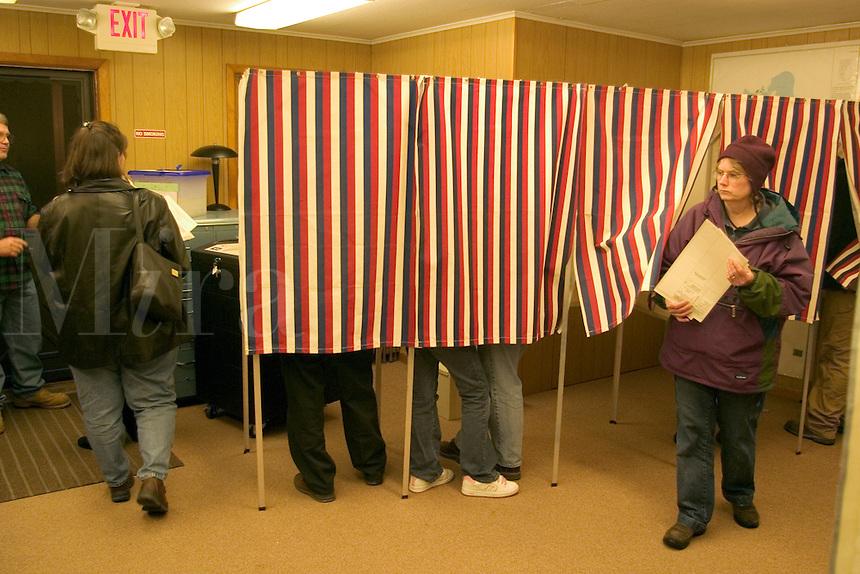 Small town America voting in Grand Isle, VT.