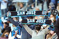 SAN JOSE, CA - MAY 22: San Jose Earthquakes fans during a game between Sporting Kansas City and San Jose Earthquakes at PayPal Park on May 22, 2021 in San Jose, California.