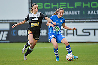 Daisy Boudewijns (30 of Aalst) and Fran Meersman (5 of Gent)  pictured during a female soccer game between Eendracht Aalst and AA Gent Ladies on the 10 th matchday of the 2020 - 2021 season of Belgian Scooore Womens Super League , Saturday 19 th of December 2020  in Aalst , Belgium . PHOTO SPORTPIX.BE | SPP | DIRK VUYLSTEKE
