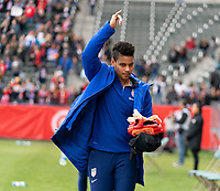 CARSON, CA - FEBRUARY 9: Adrianna Franch #12 of the United States waves to the crowd during a game between Canada and USWNT at Dignity Health Sports Park on February 9, 2020 in Carson, California.