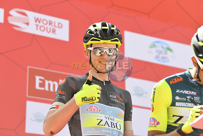 Black Jersey holder Veljko Stojnic (SER) Vini Zabù-KTM team at sign on before Stage 5 the Al Ain Water Stage of the UAE Tour 2020 running 162km from Al Ain to Jebel Hafeet, Dubai. 27th February 2020.<br /> Picture: LaPresse/Fabio Ferrari   Cyclefile<br /> <br /> All photos usage must carry mandatory copyright credit (© Cyclefile   LaPresse/Fabio Ferrari)