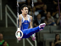 Glen Ishino of California competes on rings during the 2012 US Olympic Trials competition at HP Pavilion in San Jose, California on June 28th, 2012.