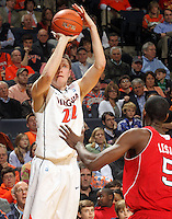 March 1, 2011 - Charlottesville, Virginia-USA; Virginia Cavaliers forward Will Sherrill (22) shoots the ball over North Carolina State Wolfpack forward C.J. Leslie (5) during an NCAA basketball game at the John Paul Johns arena. Virginia won 69-58. Photo/Andrew Shurtleff (Credit Image: © Andrew Shurtleff/ZUMApress.com)