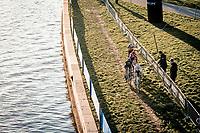 chasing group behind solo race leader Vanthourenhout: Eli Iserbyt (BEL/Pauwels Sauzen-Bingoal), Lars van der Haar (NED/Telenet-Baloise Lions), Pim Ronhaar (NED/Pauwels Sauzen-Bingoal) & Wout van Aert (BEL/Jumbo-Visma)<br /> <br /> 2020 Urban Cross Kortrijk (BEL)<br /> men's race<br /> <br /> ©kramon
