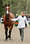 LEXINGTON, KY - APRIL 27: #58 Cisko A and rider Sydney C Elliott jog before the vets and grand jury during the first horse inspection for the Rolex Three Day Event on Wednesday April 27, 2016 in Lexington, Kentucky. (Photo by Candice Chavez/Eclipse Sportswire/Getty Images)