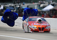 Apr. 28, 2012; Baytown, TX, USA: NHRA pro stock driver Jason Line during qualifying for the Spring Nationals at Royal Purple Raceway. Mandatory Credit: Mark J. Rebilas-