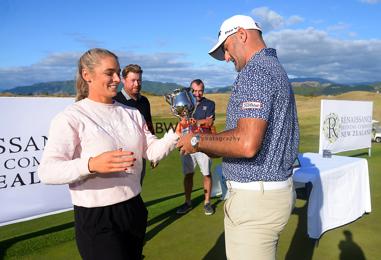 NZ Golf board member Hana-Rae Seifert and Mike Hendry. Day four of the Renaissance Brewing NZ Stroke Play Championship at Paraparaumu Beach Golf Club in Paraparaumu, New Zealand on Sunday, 21 March 2021. Photo: Dave Lintott / lintottphoto.co.nz