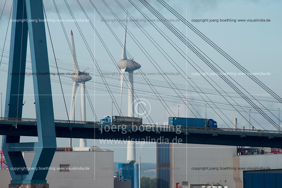 GERMANY, Hamburg, port and Köhlbrand bridge , Enercon wind turbine / DEUTSCHLAND, Hamburg, Süderelbe, Köhlbrandbrücke , Windkraftanlage