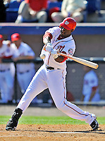 12 March 2011: Washington Nationals' outfielder Roger Bernadina at bat during a Spring Training game against the New York Yankees at Space Coast Stadium in Viera, Florida. The Nationals edged out the Yankees 6-5 in Grapefruit League action. Mandatory Credit: Ed Wolfstein Photo