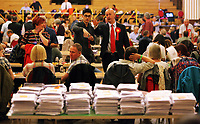 Pictured: MP Geraint Davies looks at the piles of his winning ballots laying on a counting table before the results are announced. Friday 09 June 2017<br />