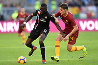 Omar Colley of Sampdoria and Patrik Schick of AS Roma compete for the ball during the Serie A 2018/2019 football match between AS Roma and UC Sampdoria at stadio Olimpico, Roma, November, 11, 2018 <br />  Foto Andrea Staccioli / Insidefoto