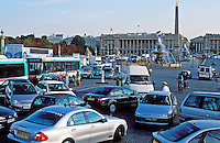 France, Paris, Place de la Concorde, traffic jam