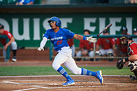 Jefrey Souffront (29) of the Ogden Raptors bats against the Great Falls Voyagers at Lindquist Field on August 21, 2018 in Ogden, Utah. Great Falls defeated Ogden 14-5. (Stephen Smith/Four Seam Images)