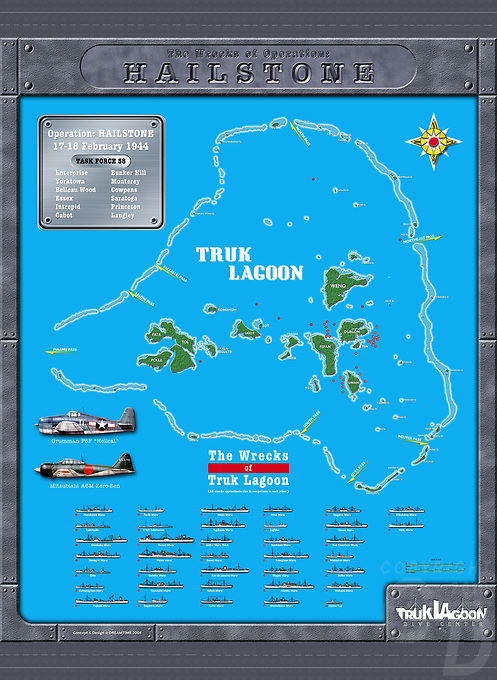 Renderings/Artwork of Maps from Truk Lagoon, Chuuk Micronesia. Dive Sites and wreck locations