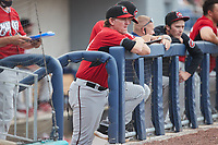 Carolina Mudcats manager Joe Ayrault (33) looks on from te dugout during the game against the Kannapolis Cannon Ballers at Atrium Health Ballpark on June 9, 2021 in Kannapolis, North Carolina. (Brian Westerholt/Four Seam Images)