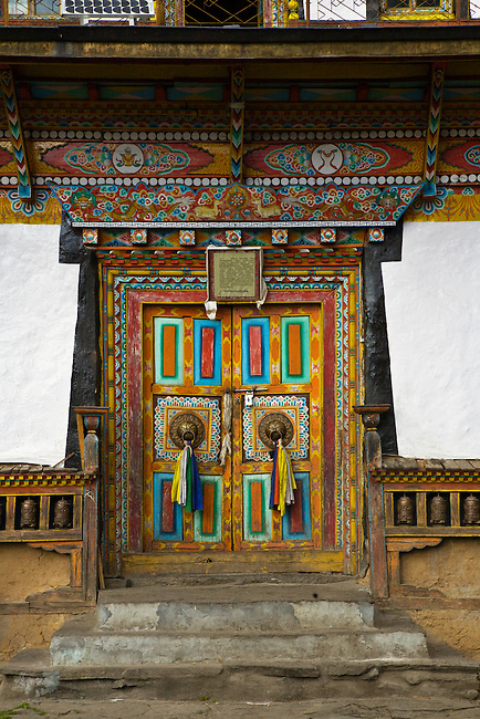 DOORS OF A TEMPLE at a remote TIBETAN BUDDHIST MONASTERY - NEPAL HIMALALA