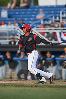 Batavia Muckdogs right fielder Jhonny Santos (13) at bat during a game against the West Virginia Black Bears on June 26, 2017 at Dwyer Stadium in Batavia, New York.  Batavia defeated West Virginia 1-0 in ten innings.  (Mike Janes/Four Seam Images)