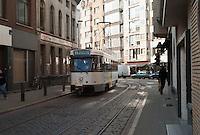 Antwerp tram line 11 running along Ommeganckstraat headed toward Deurne Eksterlaar from Melkmarkt