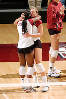 24 November 2006: Stanford Cardinal Bryn Kehoe and Stanford Cardinal Nji Nnamani during Stanford's 30-27, 30-15, 31-29 win against the Washington Huskies at Maples Pavilion in Stanford, CA.