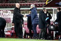 26th October 2020, Turf Moor, Burnley UK; EPL Premier League football, Burnley v Tottenham Hotspur; Burnley Manager Sean Dyche and Tottenham Hotspur Manager Jose Mourinho shake hands pre-game
