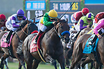 DEL MAR,CA-AUGUST 19: Catapult #1 (yellow cap),ridden by Drayden Van Dyke, wins the Del Mar Mile at Del Mar Race Track on August 19,2018 in Del Mar,California (Photo by Kaz Ishida/Eclipse Sportswire/Getty Images)