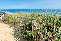 Marconi Beach pIcket fence and sand dunes, Cape Cod