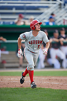 Auburn Doubledays third baseman Cole Daily (7) runs to first base during a game against the Batavia Muckdogs on September 1, 2018 at Dwyer Stadium in Batavia, New York.  Auburn defeated Batavia 10-5.  (Mike Janes/Four Seam Images)