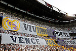 """Real Madrid's fans display a huge banner that reads """"We live for you, win for us"""" during Champions League match in Madrid. April 27, 2011. (ALTERPHOTOS/Alvaro Hernandez)"""