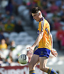 Mark McInerney of Clare has a shot at goal during their Munster Minor football final at Pairc Ui Chaoimh. Photograph by John Kelly.