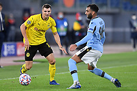 Thomas Meunier of Borussia Dortmund and Mohamed Fares of SS Lazio compete for the ball during the Champions League Group Stage F day 1 football match between SS Lazio and Borussia Dortmund at Olimpic stadium in Rome (Italy), October, 200 Italy, 2020. Photo Andrea Staccioli / Insidefoto