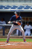 GCL Red Sox designated hitter Jagger Rusconi (12) squares to bunt during the second game of a doubleheader against the GCL Rays on August 4, 2015 at Charlotte Sports Park in Port Charlotte, Florida.  GCL Red Sox defeated the GCL Rays 2-1.  (Mike Janes/Four Seam Images)