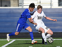 NWA Democrat-Gazette/CHARLIE KAIJO Bentonville High School Andrew Wagner (19) dribbles during a soccer game, Friday, April 26, 2019 at  Whitey Smith Stadium at Rogers High School in Rogers.
