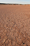 Dry cracked desert soil along the Oodnadatta Track.