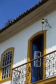 Paraty, Rio de Janeiro, Brazil. Upper balcony of a well-kept colonial house.