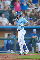 Omaha Storm Chasers Kyle Isbel (3) celebrates after hitting a home run during a game against the Iowa Cubs on August 14, 2021 at Werner Park in Omaha, Nebraska. (Zachary Lucy/Four Seam Images)