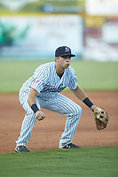 Pulaski Yankees third baseman Chad Bell (63) on defense against the Burlington Royals at Calfee Park on August 31, 2019 in Pulaski, Virginia. The Yankees defeated the Royals 6-0. (Brian Westerholt/Four Seam Images)