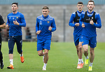 St Johnstone Training….19.08.20<br />Callum Hendry pictured running with Michael O'Halloran, Wallace Duffy and Jamie McCart during training at McDiarmid Park this morning ahead of tomorrow's re-arranged game against Aberdeen.<br />Picture by Graeme Hart.<br />Copyright Perthshire Picture Agency<br />Tel: 01738 623350  Mobile: 07990 594431