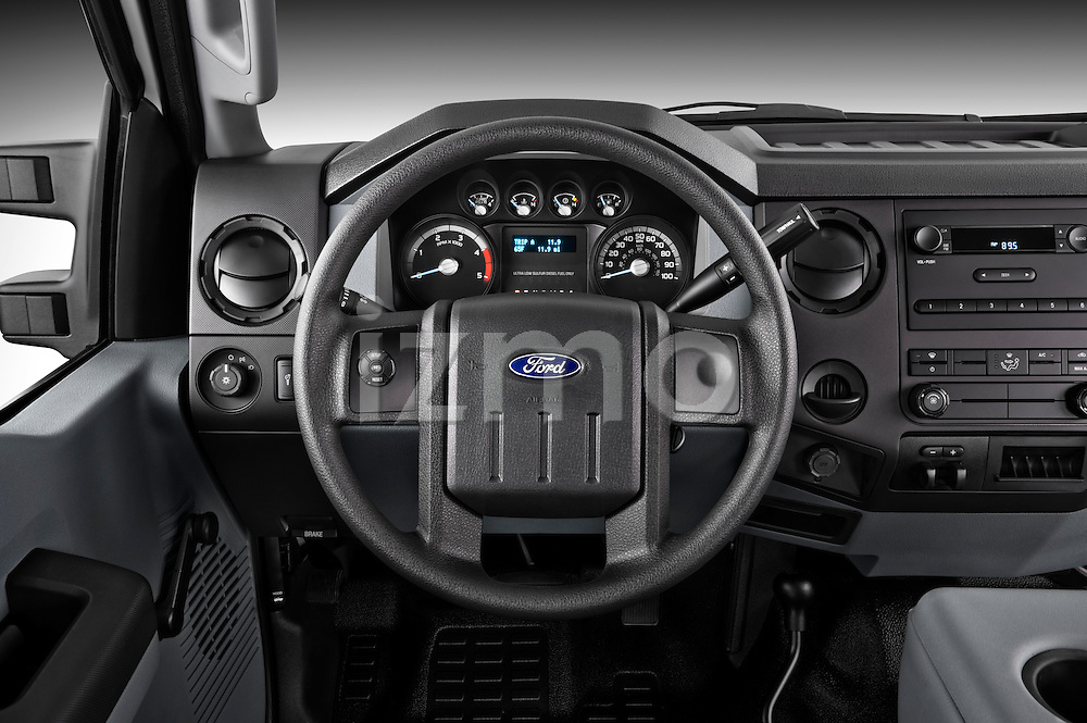 Steering wheel view of a 2011 Ford F450 Crew Cab
