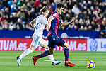 Sergio Postigo Redondo of Levante UD (R) fights for the ball with Luka Modric of Real Madrid (L) during the La Liga 2017-18 match between Levante UD and Real Madrid at Estadio Ciutat de Valencia on 03 February 2018 in Valencia, Spain. Photo by Maria Jose Segovia Carmona / Power Sport Images