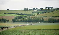 a stretched peloton racing through the beautiful Limburg landscape<br /> <br /> stage 3: Buchten-Buchten (190km)<br /> 29th Ster ZLM Tour 2015