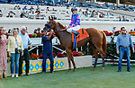 DEL MAR, CA  SEPTEMBER 4: The connections of  #7 Grace Adler, ridden by Flavien Prat in the winners circle after winning the TVG Del Mar Debutante (Grade l)  on September 5, 2021 at Del Mar Thoroughbred Club in Del Mar, CA.(Photo by Casey Phillips/Eclipse Sportswire/CSM)